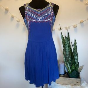 Embroidered A-Line blue dress with Aztec design S